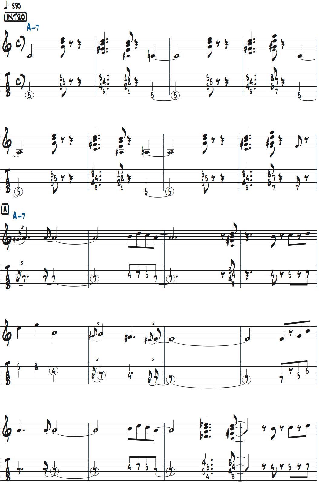 パット・マルティーノimpressionsの前テーマ・メロディ楽譜ページ1