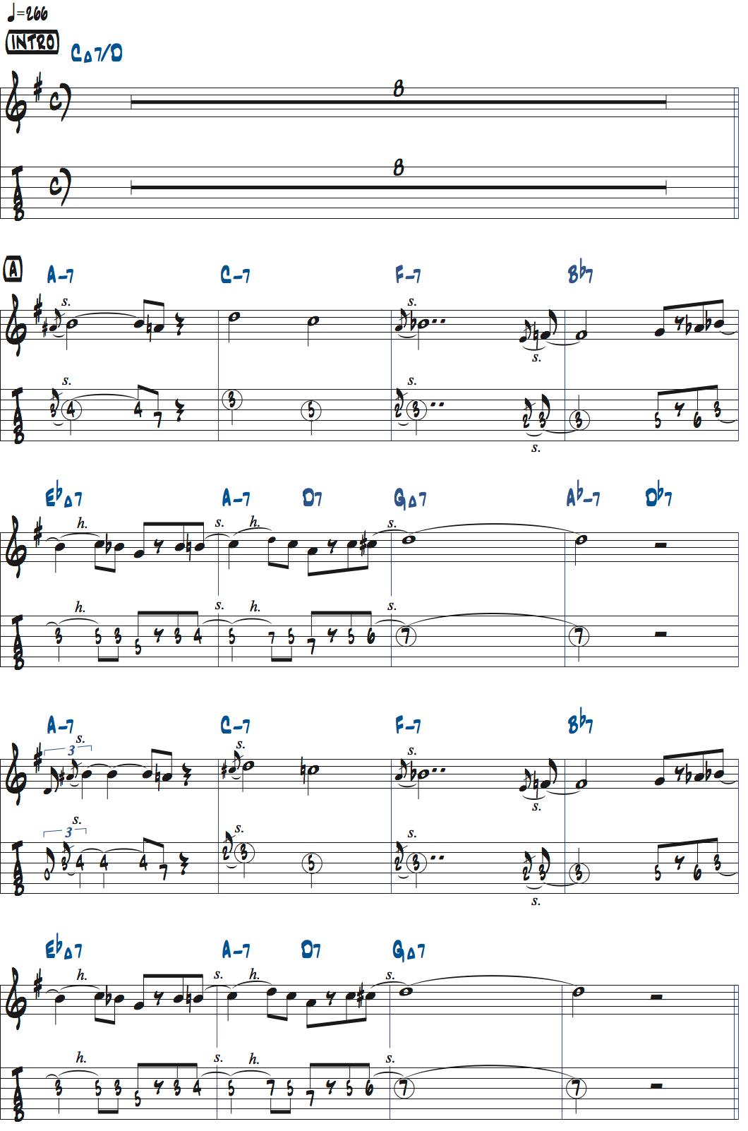 パット・マルティーノLazy Birdの前テーマ・メロディ楽譜ページ1