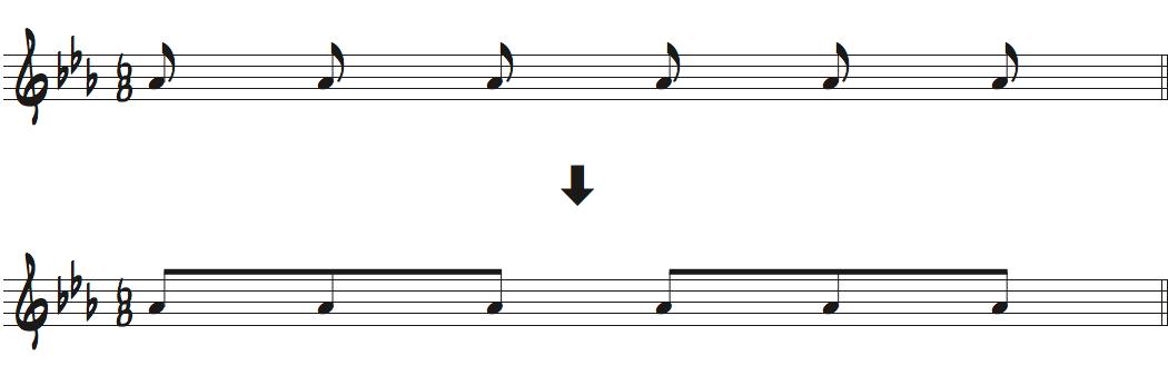 8分の6拍子での8分音符の書き方楽譜
