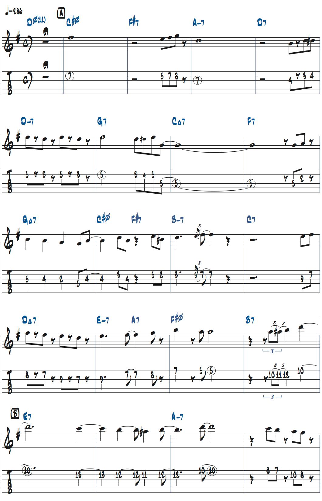 タル・ファーロウStella By Starlightの前テーマ・メロディ楽譜ページ1