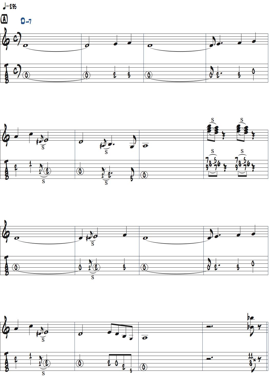 ウェス・ モンゴメリーimpressionsの前テーマ・メロディ楽譜ページ1
